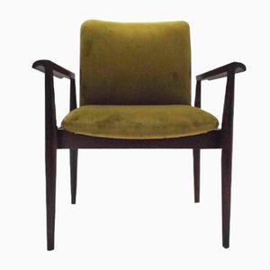 Danish Mahogany & Green Velvet Diplomat Armchair by Finn Juhl for France & Søn, 1960s