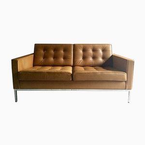 Vintage 2-Sitzer Ledersofa von Florence Knoll für Knoll