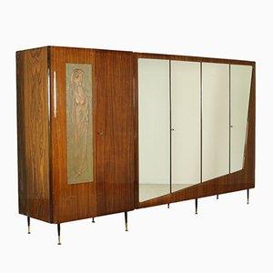 Mid-Century Rosewood Veneer Wardrobe with Mirrors