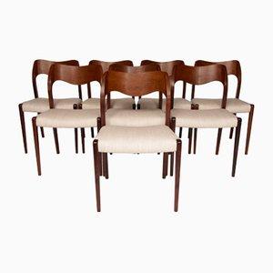 71 Palisander Esszimmerstühle von Niels Møller für J.L. Møllers, 1960er, 8er Set