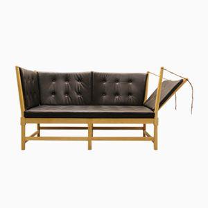 Vintage 1789 Sofa aus Buche und Anilinleder von Borge Mogensen für Fritz Hansen