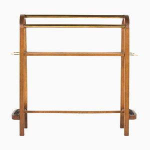 Console Table in Oak and Brass, 1950s