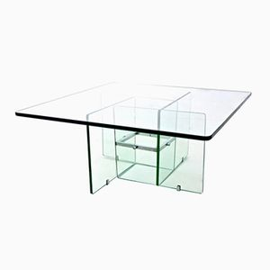 Aquamarine Square Glass Coffee Table, 1970s