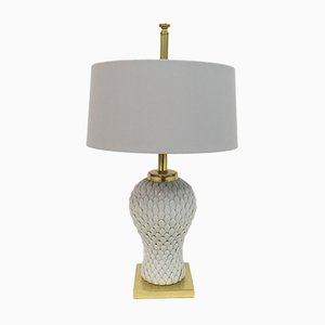 Italian Ceramic and Brass Artichoke Lamp, 1970s