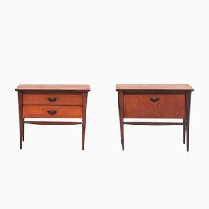 Tables de Chevet en Contreplaqué Teck par Louis van Teeffelen pour Wébé, 1950s