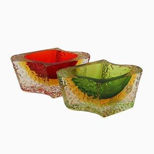 Vintage Murano Glass Bowls by Luigi Mandruzzato, Set of 2