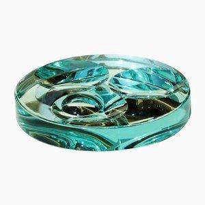 Verspiegelte Vintage Schale aus Kristallglas von Fontana Arte, 1960er