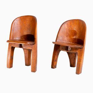 Brutalistische Vintage Stühle aus Massiver Eiche, 2er Set