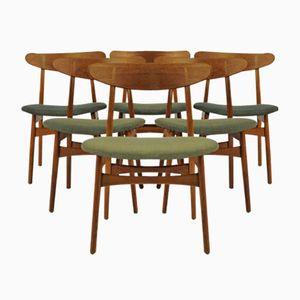 CH30 Esszimmerstühle aus Eiche von Hans J Wegner für Carl Hansen & Søn, 1950er, 6er Set