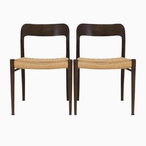Wenge Model 75 Chairs by Niels O. Møller for J. L. Møller, 1960s, Set of 4
