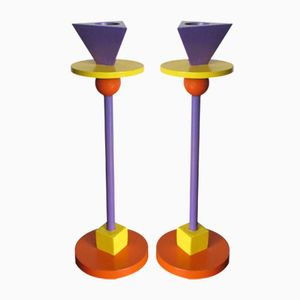 Enameled Cast Iron Memphis Candlesticks by Ettore Sottsass, 1980s, Set of 2