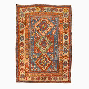 Antique Wool and Geometrical Gendge Rug, 1900s