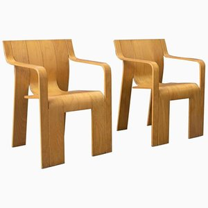 Stackable Wooden Strip Armchairs by Gijs Bakker for Castelijn, 1974, Set of 2