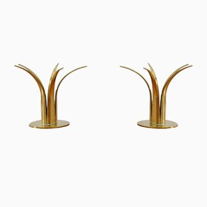 Mid-Century Liljan the Lily Brass Candlesticks from Ystad Metall, Set of 2