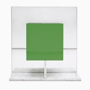 Green Mirrored Cabinet with Marble Base by Pieter De Bruyne, 1974