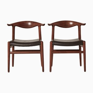 Mid-Century Model JH 5050 Cow Horn Chairs by Hans Wegner for Johannes Hansen