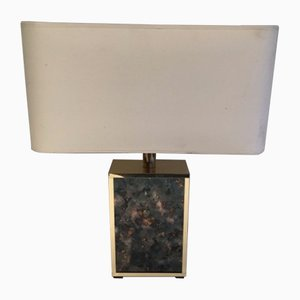 Lucite and Gilt Metal Table Lamp, 1970s