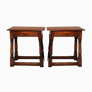 Tavolini antichi in quercia massiccia, set di 2