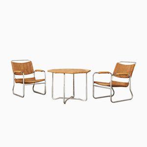 2 Sessel & Tisch von Bas van Pelt für EMS, 1930er