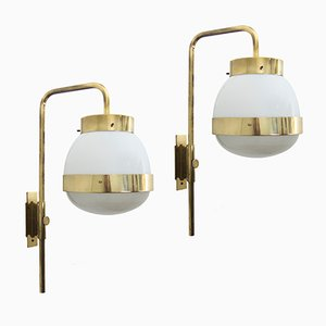 Brass Delta Wall Lights by Sergio Mazza for Artemide, 1960s, Set of 2