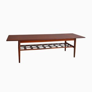 Danish Coffee Table in Rosewood and Leather, 1960s