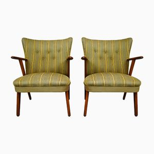 Mid-Century Green Wool Lounge Armchairs, Set of 2