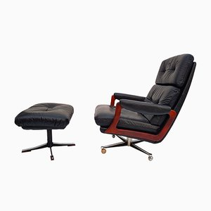 Leather Swivel Armchair with Ottoman by Preben Fabricius & Jørgen Kastholm for Kill International, 1960s
