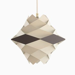 Symfoni Pendant in White and Grey Metal by Preben Dahl for HF Belysning, 1960s
