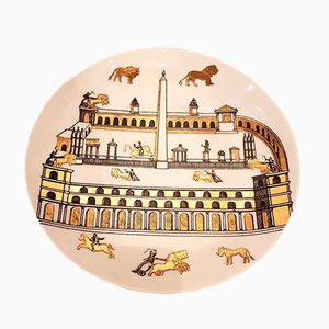 Vintage Decorative Earthenware and Gold Plate by Piero Fornasetti