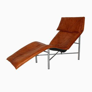 Swedish Cognac Leather Chaise Lounge by Tord Bjorklund, 1970s