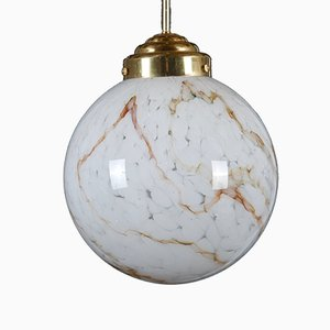 Large Pendant in Art-Glass and Brass, 1970s