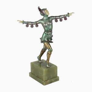 Figura alemana Art Déco de zinc y marfil sintético, años 20