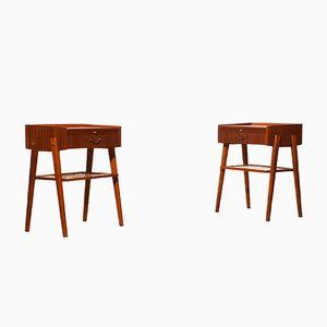 Tables de Chevet en Teck et Laiton, 1960s, Set de 2