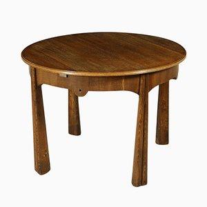 Italian Vintage Round Table in Oak Veneer, 1950s