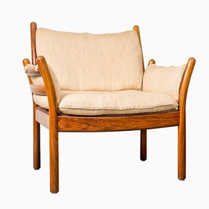 Vintage Genius Chair in Rosewood and White Fabric by Illum Wikkelsø for CFC Silkeborg