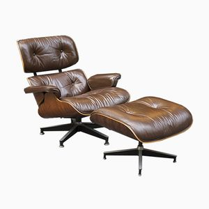 Brown Leather Lounge Chair & Ottoman by Charles & Ray Eames for Herman Miller, 1976