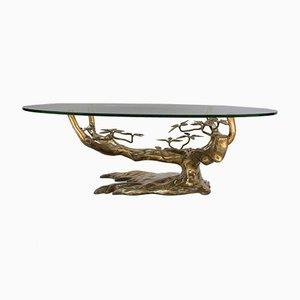 Oval Bonzai Coffee Table in Golden Brass, 1970s