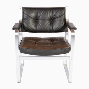 Mondo Brown Leather & Aluminum Lounge Chair by Karl Erik Ekselius for JOC Vetlanda