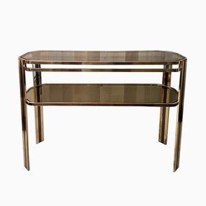 Brass & Smoked Glass Console, 1970s