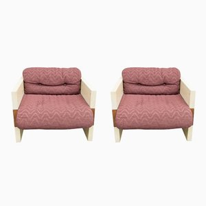Vintage Italian Armchairs by Albert Leclerc, 1970s, Set of 2