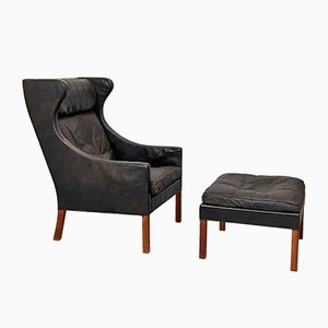 Mid-Century Model 2204 Wingback Chair & Ottoman by Børge Mogensen for Fredericia