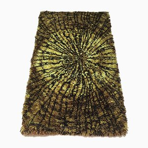 Langfloriger Schwedischer Vintage Teppich aus Reiner Wolle, 1960er