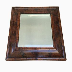 Oyster Veneered Cushion Framed Mirror with Beveled Plate, 1720s