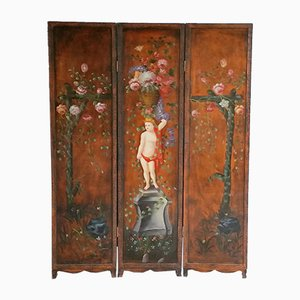Antique Hand-Painted Wooden Folding Screen