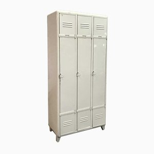 Vintage White Locker with 3 Doors