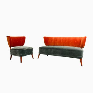 Vintage Velvet Cocktail Chair and Matching Sofa, 1950s, Set of 2