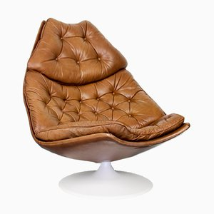 F588 Light Brown Leather Chair by Geoffrey Harcourt for Artifort