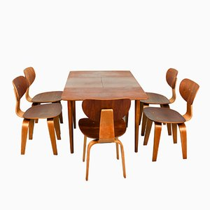 SB02 Dining Chairs and Matching TB38 Extendable Dining Table by Cees Braakman for Pastoe