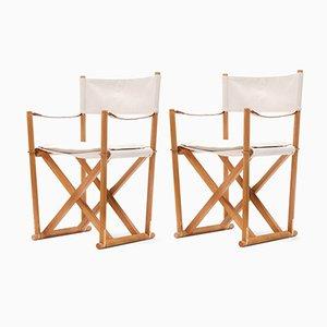 Klappbare Vintage MK-16 Safari Stühle von Mogens Koch für Rud Rasmussen, 2er Set
