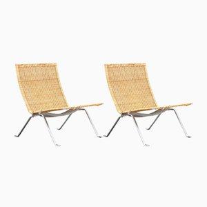 Vintage PK-22 Sessel von Poul Kjærholm für E. Kold Christensen und Fritz Hansen, 2er Set